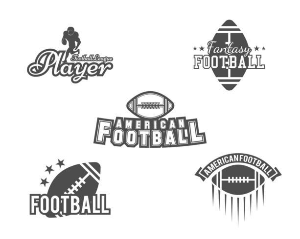 College rugby och amerikanska fotbollslag insignier set i retrostil vektor