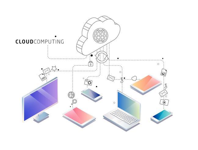 Isometrisches Konzept der Cloud Computing vektor