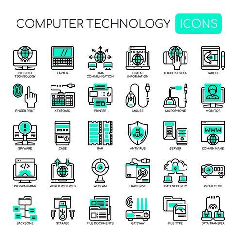 Uppsättning av svartvit tunn linje ikoner för datorteknologi vektor