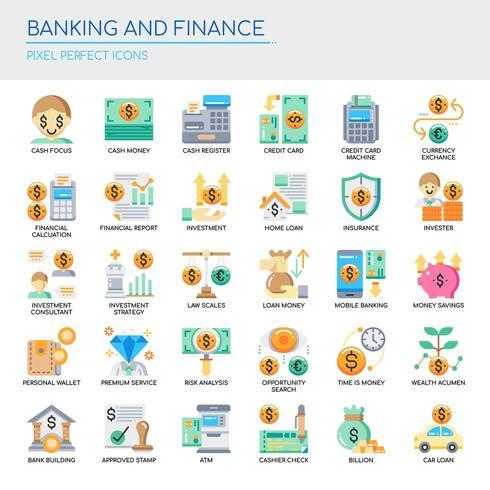Uppsättning av platt färgbank- och finanssymboler vektor