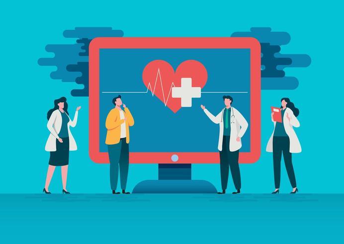 Folk konsulterar läkaren. Online sjukhusvårdskoncept. vektor