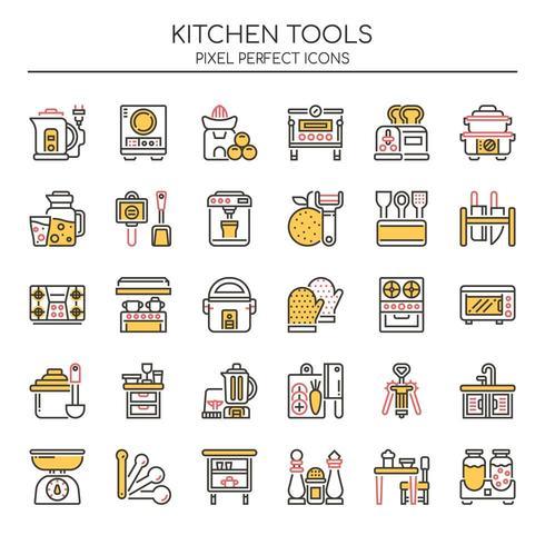 Uppsättning av Duotone tunn linje kök verktygsikoner vektor