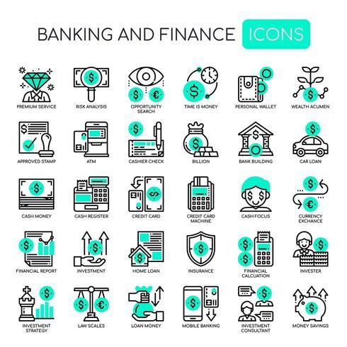 Uppsättning av svartvita tunn linje bank och finans ikoner vektor