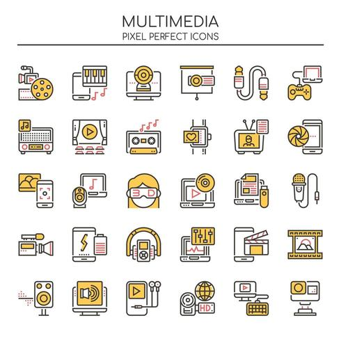 Reihe von Duotone dünne Linie Multimedia Icons vektor
