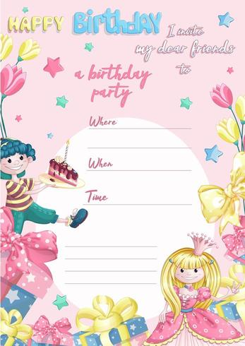 Födelsedagsfest inbjudningsmall vektor