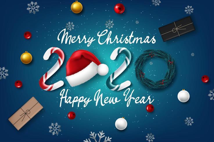 2020 Neujahrskarte mit Weihnachten vektor