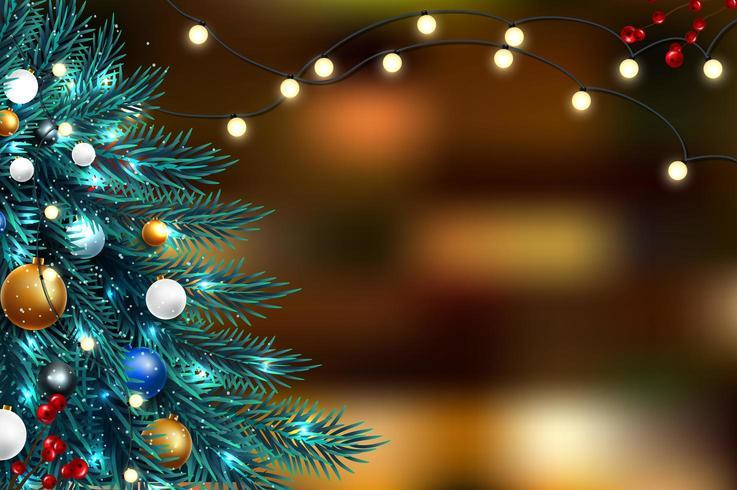 Weihnachtsbaumaste mit unscharfen Lichtern vektor