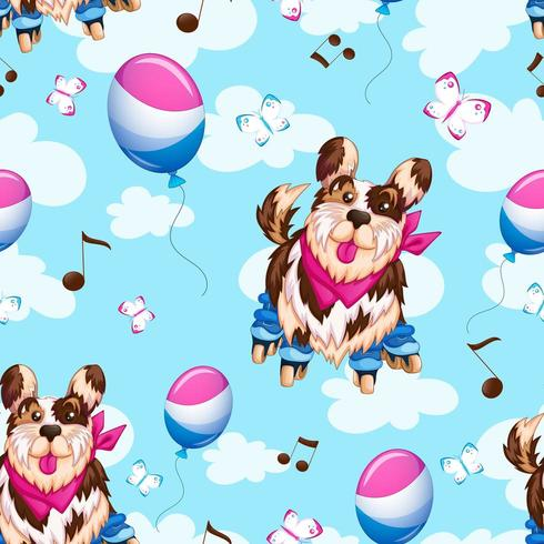 Nahtloser Hintergrund des Hundes auf Rollschuhen vektor