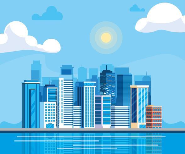 stadsbilden byggnader dag scen vektor