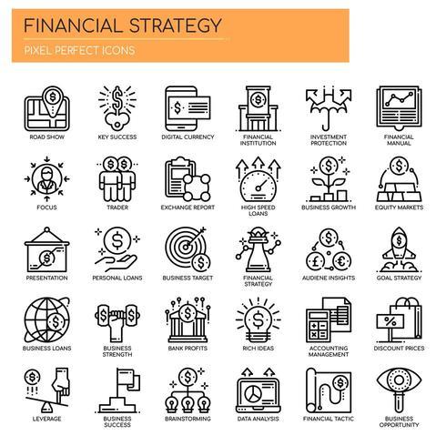 Uppsättning av svartvita tunn linje ikoner för finansiell strategi vektor