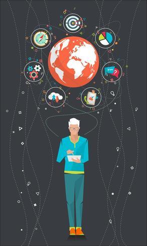 Mann auf der Tablette, die unter der Welt umgeben durch Ikonen steht vektor