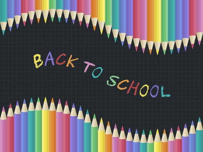 Regenbogen-Kreide zurück zu Schule, farbige Bleistiftplakatschablone vektor