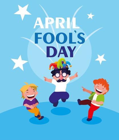 glada små pojkar april dårskort dag vektor