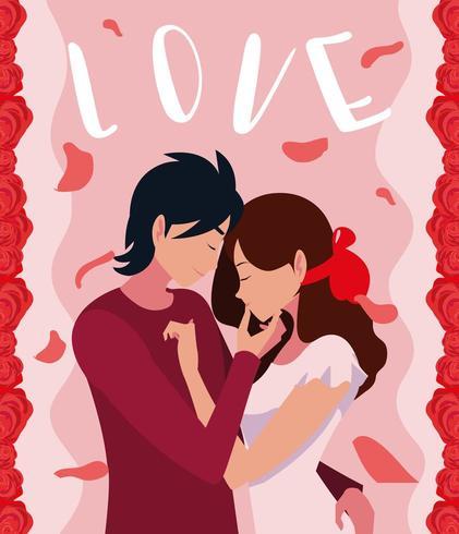 ungt par i kärleksaffisch med rosor dekoration vektor