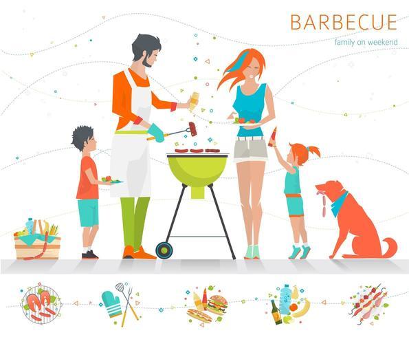 Familj som grillar på grillen med uppsättningen olika matvaror längs botten vektor