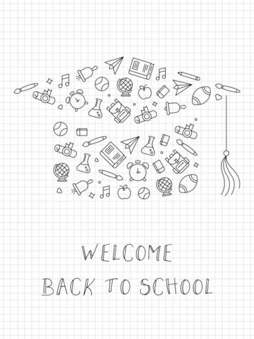 Millimeterpapier-Art Willkommen zurück zu Schule vektor
