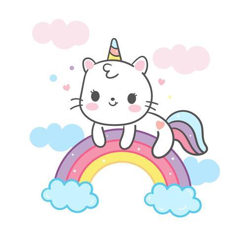 Kawaii Katzenkarikatur auf Regenbogen vektor