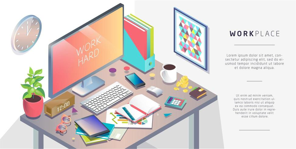 Isometrisches Konzept des Arbeitsplatzes mit Computer und Büroausstattung. vektor