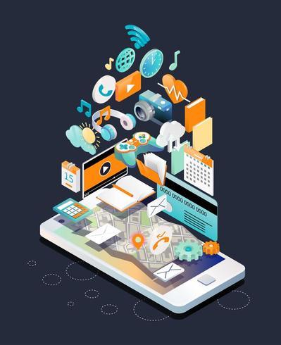 Isometriskt begrepp smartphone med olika enheter och andra objekt som svävar ovanför skärmen vektor