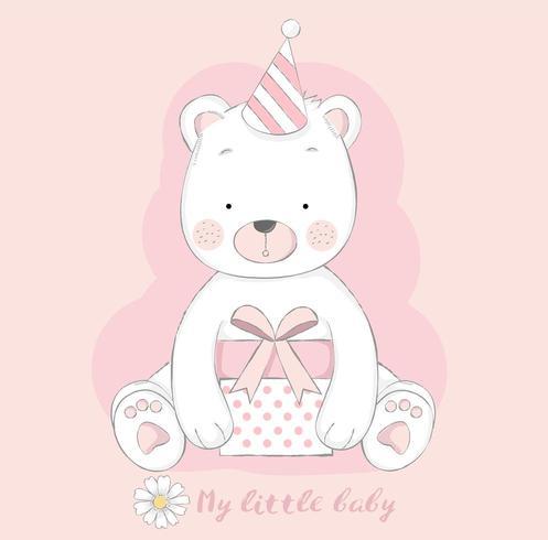 söt babybjörn med presentask vektor