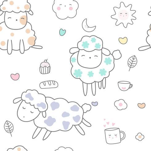 söt baby får tecknad - sömlösa mönster vektor