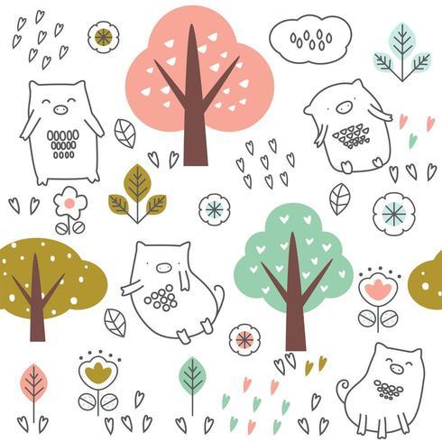 süßes Baby Schwein und Bäume Cartoon - nahtlose Muster vektor