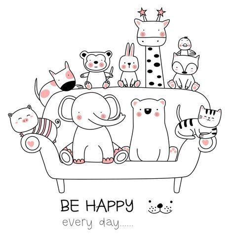 Söta behandla som ett barn djur på soffan vektor