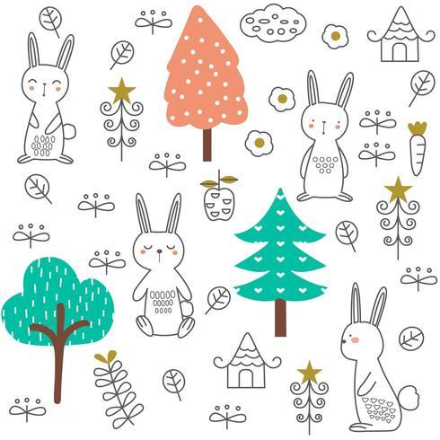 süßes Baby Kaninchen Cartoon - nahtlose Muster vektor