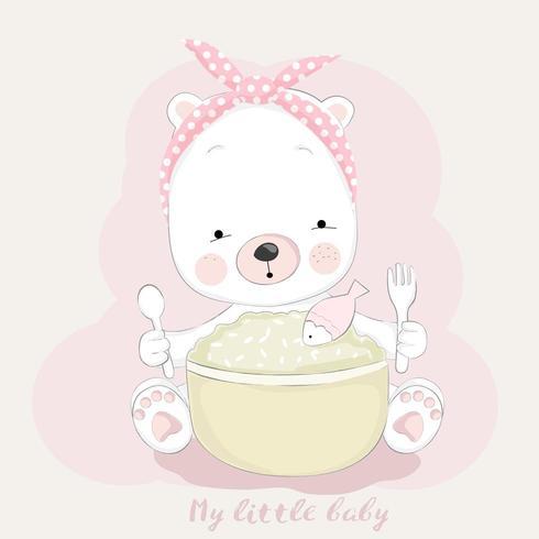 Fütterungszeit des niedlichen Babybärn-Cartoon vektor
