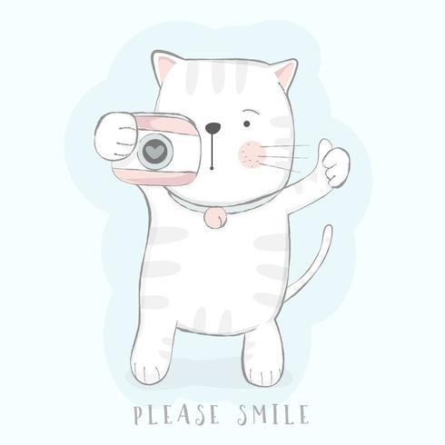 söt baby katt med kamera vektor
