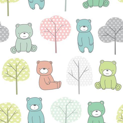 Träd och babybjörntecknad film - sömlöst mönster vektor