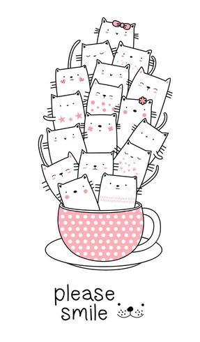 Behandla som ett barn katter i en kopp vektor