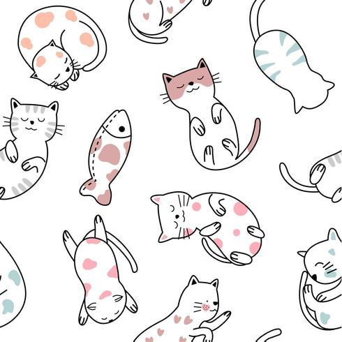 söt baby katt tecknad - sömlösa mönster vektor