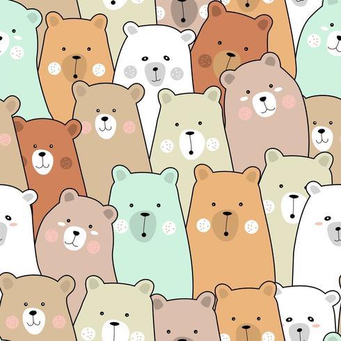 Färgglada babybjörntecknad film - sömlösa mönster vektor