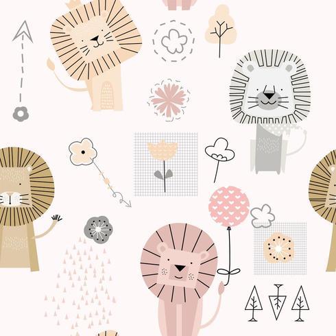 söt baby lejon tecknad - sömlösa mönster vektor
