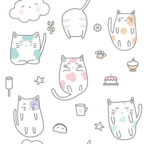Schläfrige Babykatzenkarikatur - nahtloses Muster vektor
