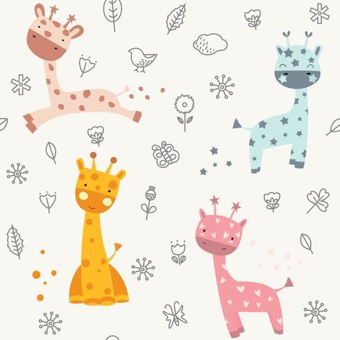 süßes Baby Giraffe Gekritzel - nahtlose Muster vektor