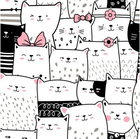 Svartvit baby katttecknad film - sömlöst mönster vektor