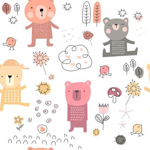 söt babybjörntecknad film - sömlösa mönster vektor