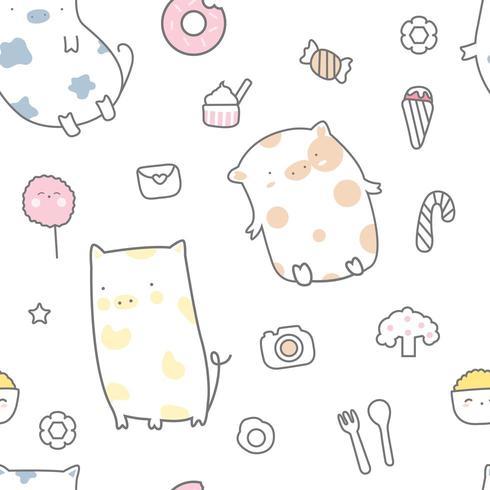 süßes Baby Schwein und Süßigkeiten Cartoon - nahtlose Muster vektor