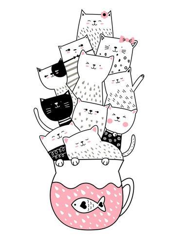 Babykatzenkarikatur mit Schale vektor