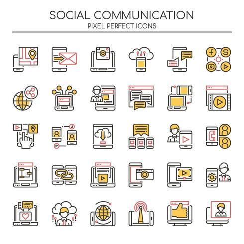 Satz von Duotone dünne Linie soziale Kommunikationsikonen vektor