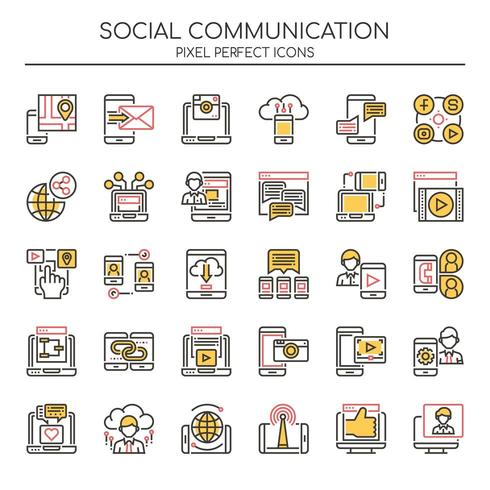 Uppsättning av Duotone tunn linje ikoner för social kommunikation vektor