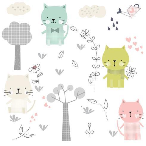 söt baby katt tecknad och blommor - sömlösa mönster vektor