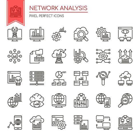 Uppsättning av svartvita tunn linje ikoner för nätverksanalys vektor