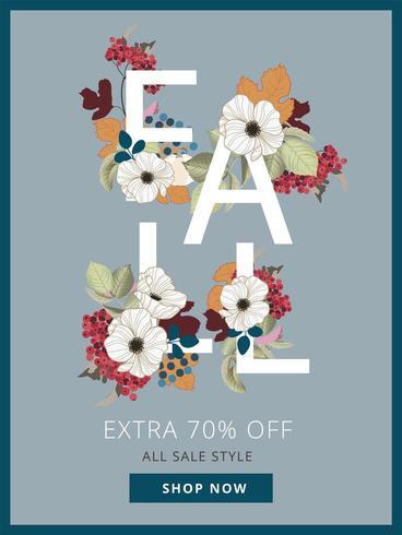 Herbst-Rabatt-Poster mit Autumn Leaf-Elementen vektor