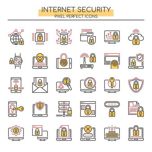 Uppsättning av Duotone Thin Line Internet Security Icons vektor