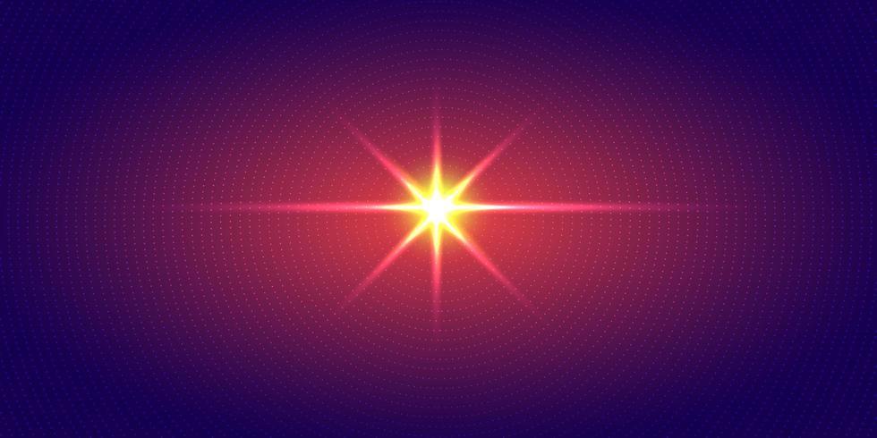 Explosion av rödljus radiella prickmönsterhalvton på mörkblå lutningbakgrund. Futuristisk neonbelysning för teknik digital koncept. vektor