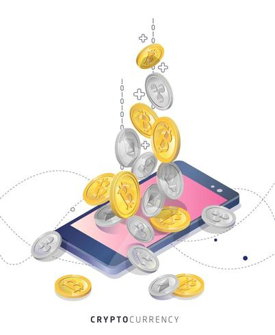 Mobiltelefon köper och tar emot cryptocurrency vektor
