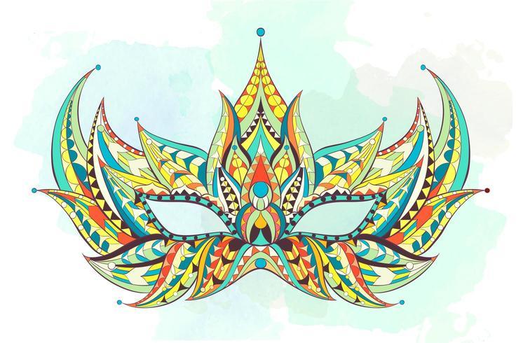 Färgrik mönstrad mask på grungebakgrund vektor